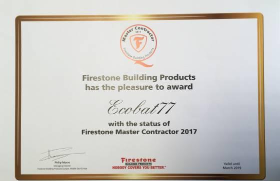 Certificat Master Contractor Firestone obtenu en 2017